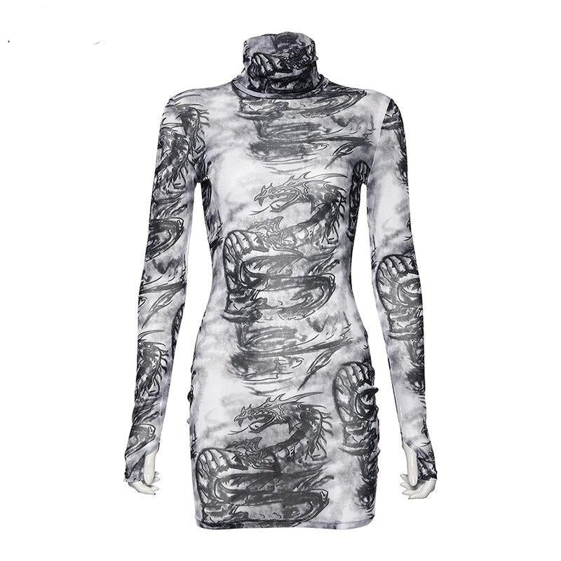 Kliou women turtleneck dress sexy mesh material print slim skinny dresses autumn new long sleeve female fashion skinny outfits