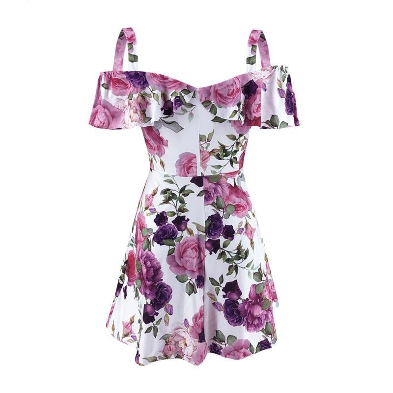 Fashion Women Dress for Party Streetwear Rullfes Decor Sling Short Sleeve Flower Print Mini Lady Summer Slim Strapless Dress