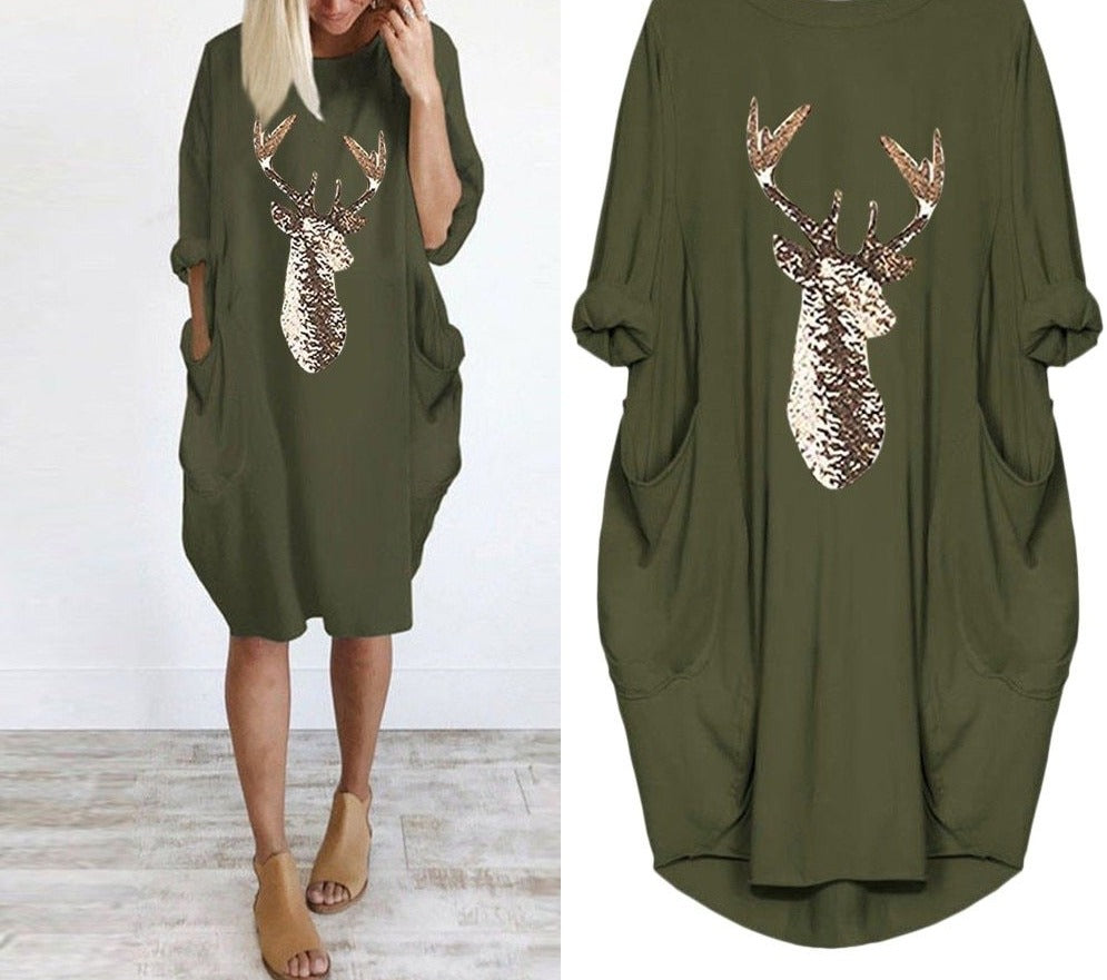 Plus Size dress Women Casual Loose Tops Elk Printting Sundress 2019 Autumn Winter Ladies O Neck Long Pocket Christmas Dresses#5s