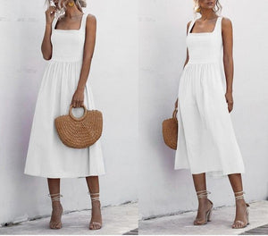 Women Long Dress Summer Sexy Backless Casual White Black Ruched Slip Midi Sundresses 2020 Ladies Spaghetti Strap Vestido Clothes