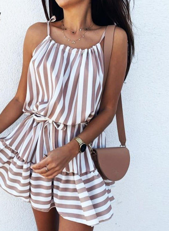 DICLOUD Casual Strip Mini Dress Women Summer Spaghetti Strap Beach Holiday Day Dress With Tie Ruffle Elegant Ladies Clothes 2020