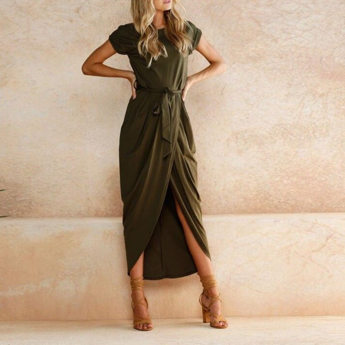 MRMT 2020 Brand New Women's Dress Short Sleeve Round Neck Solid Color Dress for Female Irregular Dress