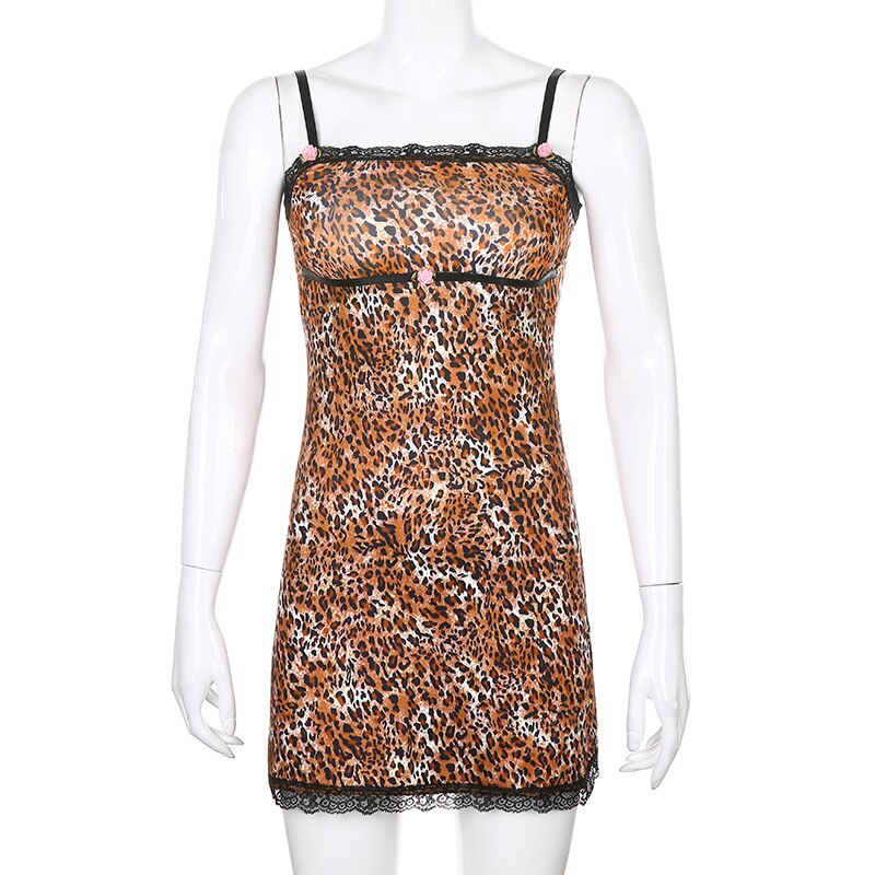 ALLNeon Y2K E-girl Spaghetti Strap Leopard Print with Lace Cami Dresses Chic Vintage Summer A-line Mini Dresses Punk Party Dress