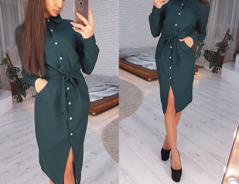 Women Vintage Front Button Sashes A-line Dress Long Sleeve Turn Down Collar Solid Elegant Dress 2020 Autumn Fashion Women Dress