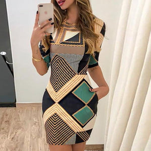 new elegant dress fashion print short-sleeved slim round neck dress ladies spring and autumn mini dress