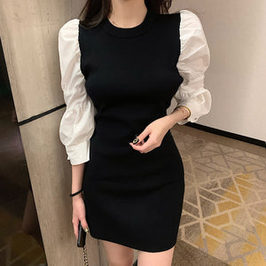 Korean Fashion Knit Patchwork Black Mini Dress Autumn French Vintage O Neck Dress Puff Sleeve Bodycon Party Dress Vestidos