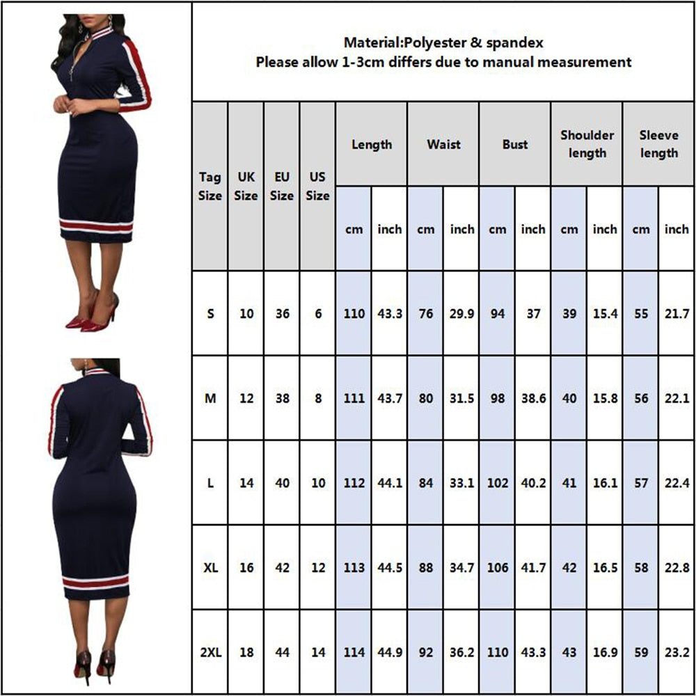 Elegant Ladies Side Striped Bodycon Dress Color Matching Stretch Office Dresses Winter Women 2019 Zipper Black Dress Vestido D30