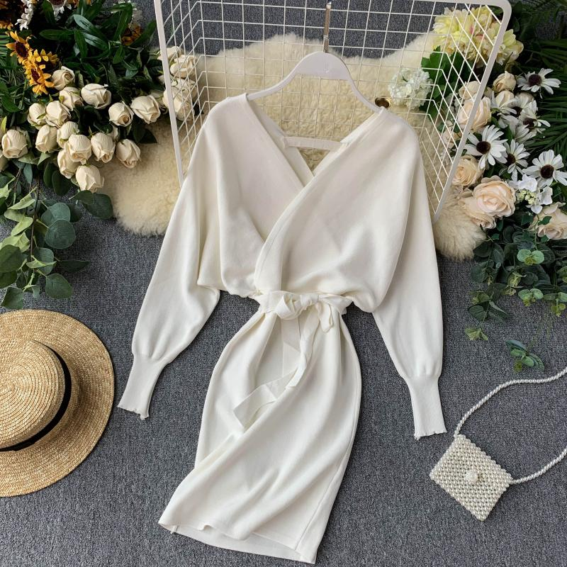 Luzuzi Autumn Winter Women Knitted Sweater Dress 2020 New Korean Long Batwing Sleeve V Neck Elegant Dress Ladies Bandage Dress