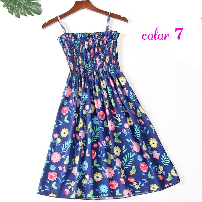 Women Summer Flower Chiffon Dress Girl 2020 Midi Sundress Beach Maxi Robe Dresses Korean Style Print Elegant Sleeveless Dress