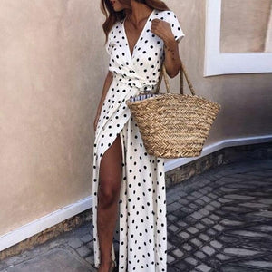 Totatoop Polka Dot V Neck Wrap Long Dress Women High Split Summer Beach Maxi Dress 2020 Party Chiffon White Vestidos