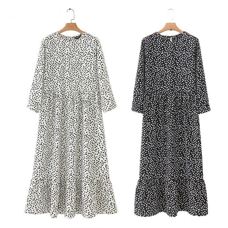 Summer Women Elegant Pleated Maxi Dress Casual O-Neck Three Quarter Sleeve Long Dress 2020 Retro Dot Printed Party Dresses