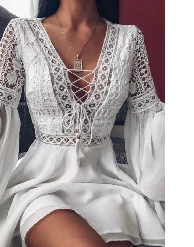 Sexy Crochet Lace V-Neck Mini Dress 2020 Summer Flare Sleeve Chiffon Beach Sundress Elegant Women Hollow Out Lace-Up Party Dress