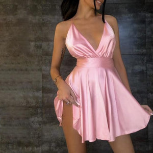 Cryptographic Satin Sexy Backless Sleeveless Party Night Club Wrap Mini Dresses Spaghetti Straps Elegant Dress Solid Vestidos