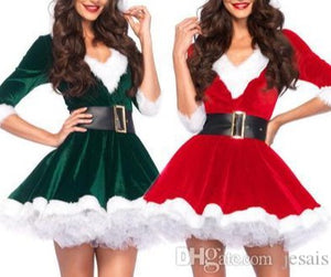2PCS Set Miss Claus Dress Suit Cosplay Santa Outfit Stage Dress Performance Theme Santa Sweetie Costume Performance Theme Party