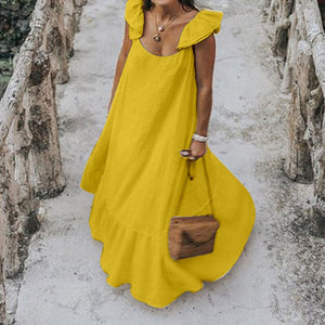 2020 Celmia Summer Dress Women Sexy Short Sleeve Ruffled Maxi Long Dress Casual Loose Solid Pleated Beach Vestido Robe Plus Size