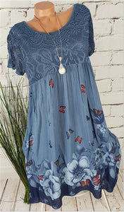 Large size loose women dress 2020 summer new lace dress printed hollow short-sleeved high-quality ladies dress 5XL