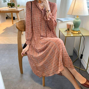 BGTEEVER Chic Bow Neck Plaid Dress Women 2020 Spring Flare Sleeve Lace-up Pleated Mid-calf Dress Female Chiffon Vestidos femme