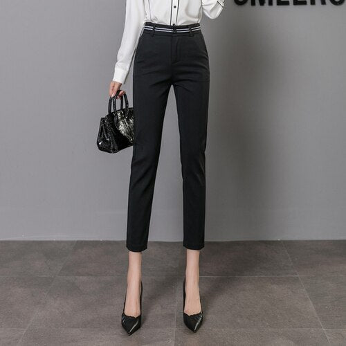 Workwear Hight Quality Elastic Slim Office Lady Candy-colored Pants Women High Waist Cotton Casual Trousers Fashion formal Pants