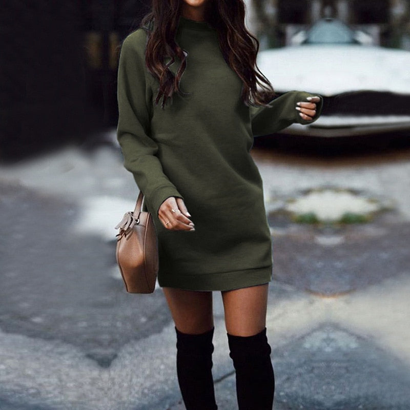 2020 Autumn Winter Thicken Straight Sweatshirt Dress Casual Long Sleeve O Neck Pullover Vestidos WDC4058 Women's Dress