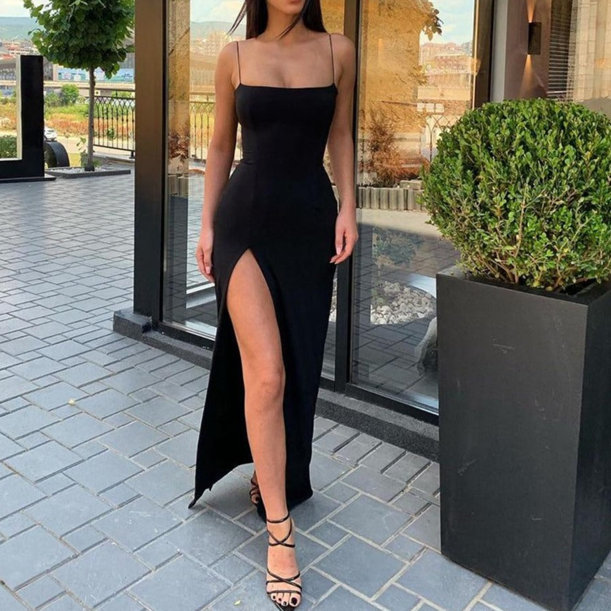 Cryptographic Sexy Women's Maxi Dresses Strap Backless Split Long Dress Fashion Fall 2020 Elegant Ladies Party Club Dresses