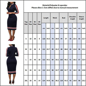 2020 Spring Women Long Sleeve Sport Style Dress Silver Zipper Half Neck Stripe Color Matching Dress Stretch Bodycon D30