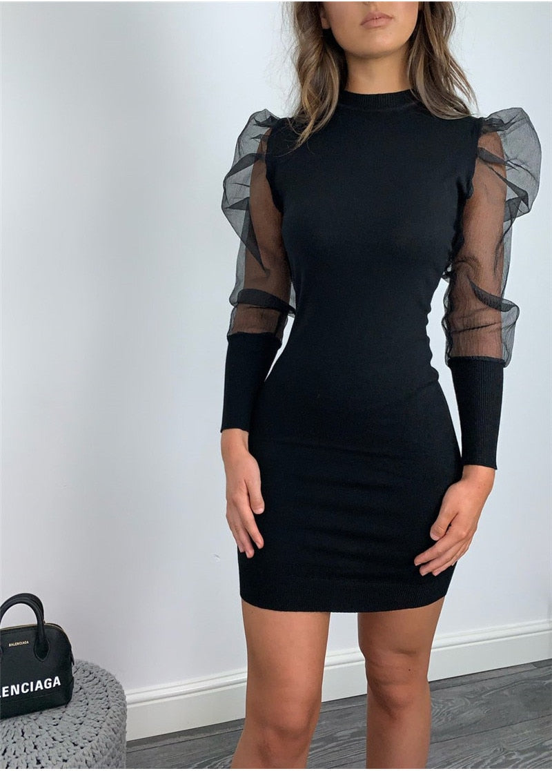 Fashion Women Bodycon Mini Dess Elegant Mesh Sheer Long Sleeve Slim Stretch Ladies Dresses Party Club Dames Vestidos Streetwear
