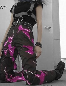 Sweetown Print Casual Straight Streetwear Pants Women Fashion High Waist Joggers Lady Pockets Long Trousers 2020 Gothic Outfits