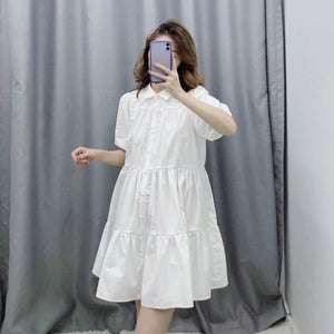 women simply solid color casual white shirtdress office lady puff sleeve pleats vestidos chic leisure big swing dresses DS3438