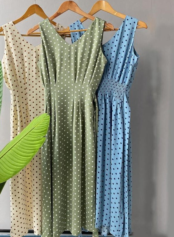 Lizkova Sleeveless Dot Dress Women Green V-neck Tunic Bandage Elegant Dress 2020 Plus Size Tank Dress