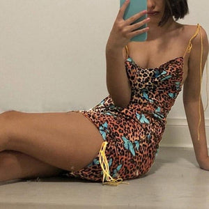 Women Sexy Dress Leopard Butterfly Print Fashion Femme Shoulder Strap Stretched Off Shoulder Package Hip Dress Mini Summer New