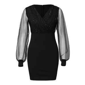 Wonen Vestidos Sequins Sexy New 2019 Summer Female Dress Black Retro Elegant Party Culb Dress