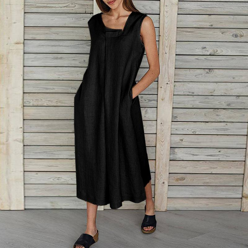 VONDA Women Sleeveless Cotton Dress Casual Holiday Long Dresses Party Dress Tank Tops Sundress Bohemian Vestidos Plus Size Robe