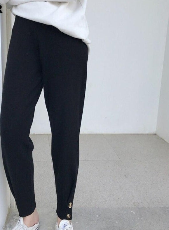 BGTEEVER Casual Women Knitted Harem Pants Knitted Warm Pants Solid Color Autumn Winter Sweater Trousers Female 2020