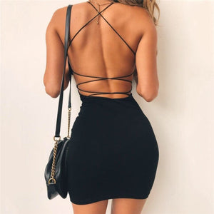 Sexy Black Summer Clothes Women Solid Color Backless Spaghetti Straps Nightclub Dress Bodycon Evening Party Low Neck Mini Dress