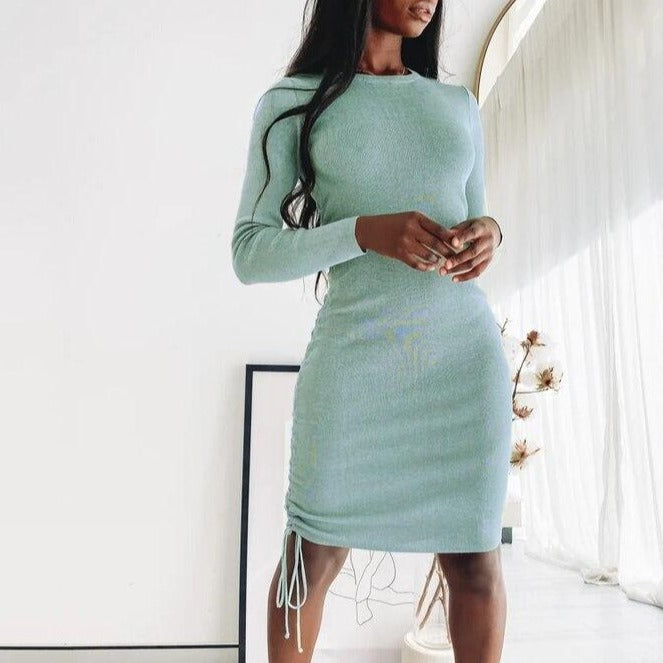 Articat Knitted Drawstring Sexy Bandage Dresses Long Sleeve High Waist 2020 Autumn Winter Women Mini Bodycon Party Dress Ruched