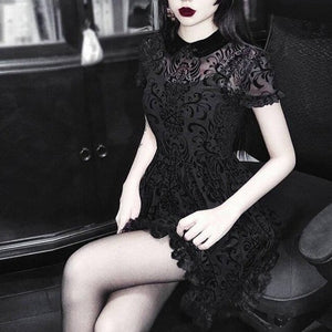InsGoth Vintage Lace Gothic Dress Women Party Sexy Hollow Out Black Mini Short Sleeve Dresses Harajuku Casual Female Mesh Dress