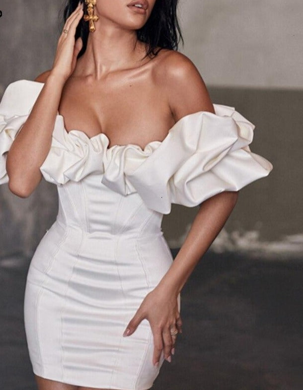 Feditch Satin Ruffles Sleeve 2020 Summer Dress Backless Strapless Bodycon White Dress Short Sexy Party Dress Nightclub Vestidos