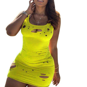 2020 Women Summer Mini Dress Fashion Sleeveless Hole O-Neck Bodycon Bandage Party Night Club Street Dresses Vestidos GL8905