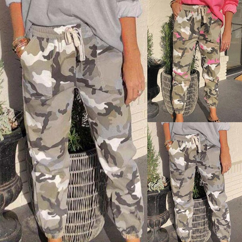 Camouflage Streetwear Cargo Pants Women Casual Joggers Black High Waist Loose Female Trousers Korean Style Ladies Pants#