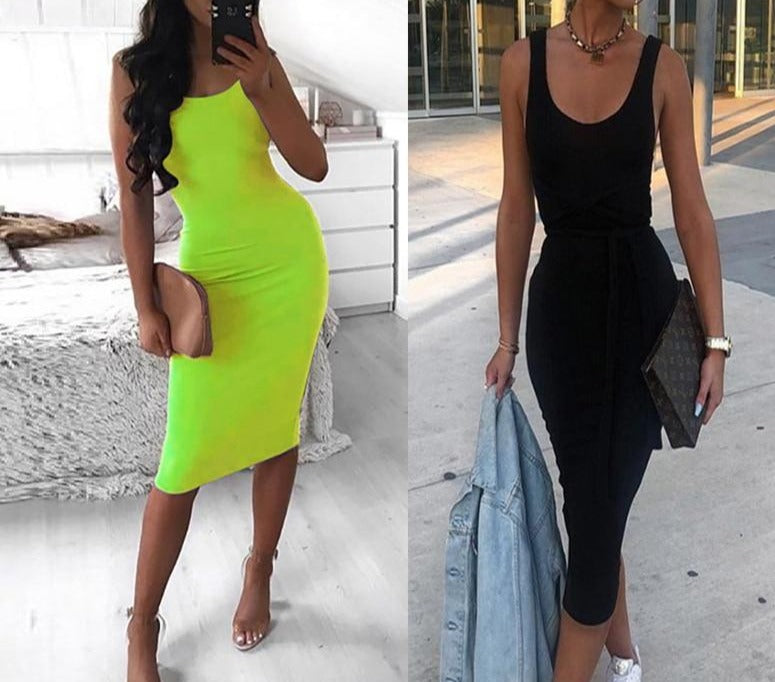 2019 Summer Women Black Dresses Autumn Neon Green Sexy Bodycon Spaghetti Strap Midi Long Party Club Tank Dress For Women Female