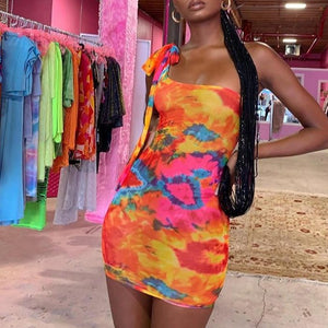 Simenual Sexy Hot Tie Dye Women Bodycon Dress One Shoulder Bandage Fashion Party Mini Dresses Sleeveless 2019 Skinny Print Dress