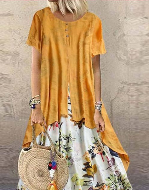 ZANZEA Pacthwork Long Dress Summer Short Sleeve Women Vintage Floral Printed Sundress Casual Retro Party Vestido Femme Dresses
