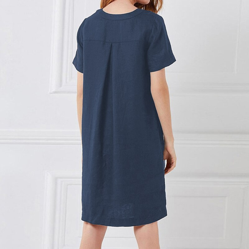 Women Short Sleeve Pocket Midi Dress Button Solid Plus Size 5XL Dresses Female 2020 Summer Autumn Vintage Straight Clothes