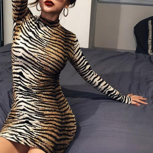 Hugcitar long sleeve high neck leopard print sexy bodycon mini dress 2019 autumn winter women fashion Christmas party clothes