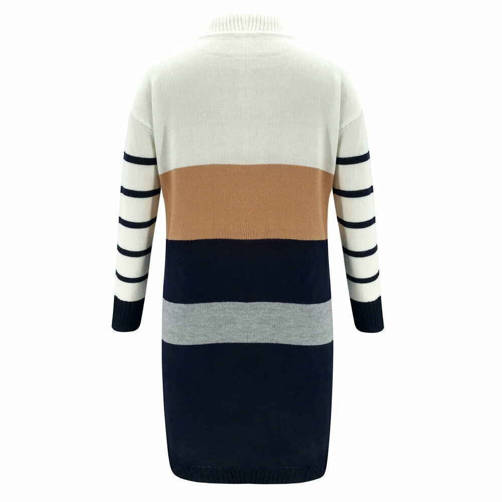 2019 Winter Warm Women Dresses Long Sleeve Knit Cardigan Dress Loose Casual Patchwork Sweater Tops O Neck Mini Clothing