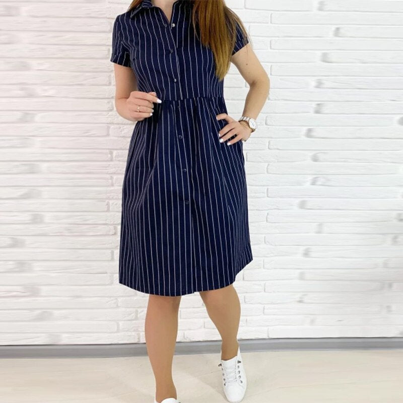 Women Summer Casual Straight Striped Dress Short Sleeve Turn-down Collar Knee Length Dress Female Buttons Dress 2020 Vestidos