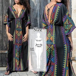 2020 Sexy Cold Shoulder V Neck Bats Sleeve Loose Summer Beach Dress Plus Size Women Beachwear Kaftan Black Cotton Dress Q943