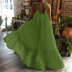 Boho Maxi Dress Women Spaghetti Strap Backless Long Summer Dress 2020 Sexy Party Bohemian Beach Dresses Vestidos Robe Femme
