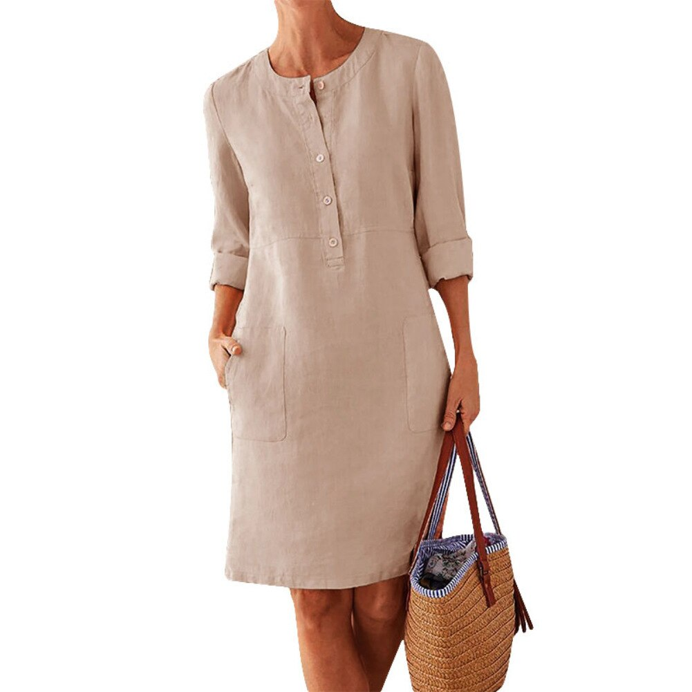 2020 fashion autumn women's MIDI dress women's solid color loose cotton hemp new o-neck long sleeve casual dress vestidos