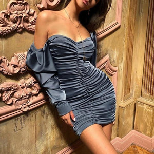 Hugcitar 2019 long puff sleeve slash neck satin pleated sexy mini dress autumn winter women solid party elegant streetwear outfi